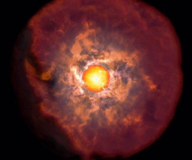 Impresión artística de una supernova originada en una supergigante roj