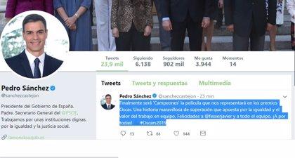 """Pedro Sánchez felicita al equipo de 'Campeones': """"Una historia maravillosa de superación y apuesta por la igualdad"""""""