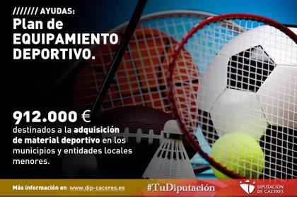 Los municipios de Cáceres ya pueden solicitar las ayudas de la Diputación Provincial para adquirir material deportivo
