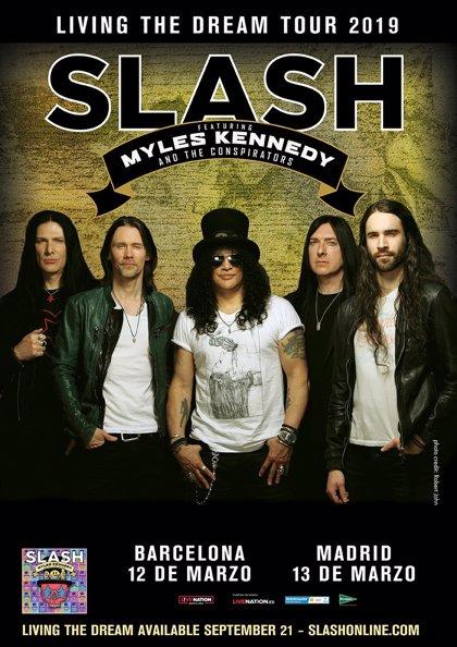 Slash actuará en Barcelona y Madrid en marzo junto a Myles Kennedy con nuevo disco