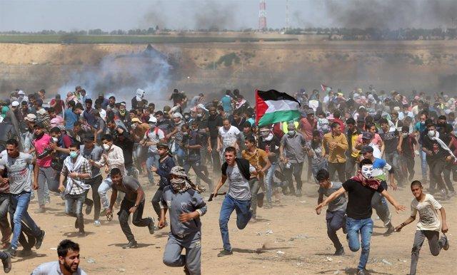 Manifestación palestina en la Franja de Gaza