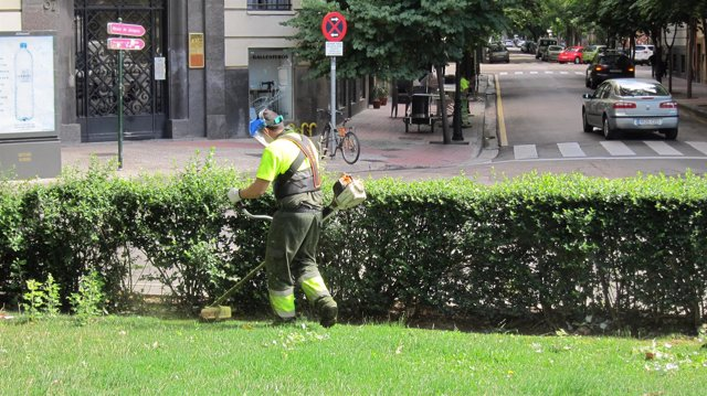 Trabajador de FCC Parques y Jardines de Zaragoza