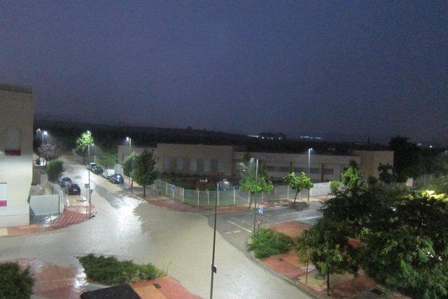 Balsa de agua en calles de Jaén como consencuencia de la tormenta.