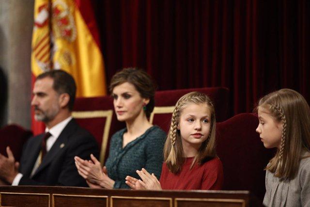 El Rey Felipe, la Reina Letizia, la Princesa Leonor y la Infanta Sofía
