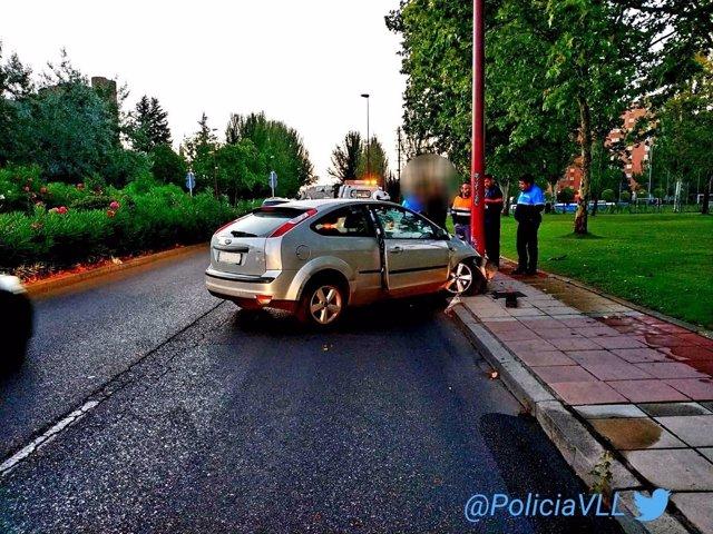 Vehículo accidentado cuyo conductor dio positivo en alcohol