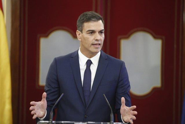 Rueda de prensa del presidente del Gobierno, Pedro Sánchez, la presidenta del Co