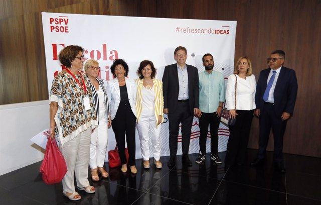 Calvo, Celaá, Puig y Barceló en l'Escola d'Estiu del PSPV-PSOE en Alicante