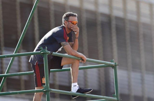 Luis Enrique dirigiendo a la selección desde el andamio