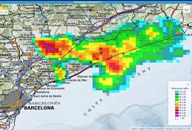 Zona de afectación de la tormenta en el Vallès Oriental y el Maresme