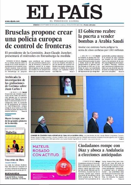 Las portadas de los periódicos del sábado 8 de septiembre de 2018
