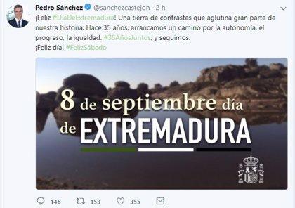 """Pedro Sánchez felicita a Extremadura, """"tierra de contrastes que aglutina gran parte"""" de la historia de España"""
