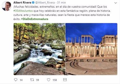 """Rivera felicita el Día de Extremadura, una comunidad """"plena de historia, cultura, arte y maravillas naturales"""""""