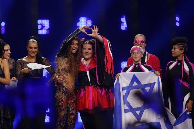 Eleni Foureira y Netta tras la semifinal de Eurovisión