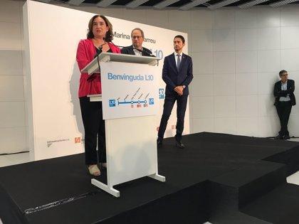 Colau pide la libertad de Junqueras y Rull en la inauguración de la L10 en Barcelona