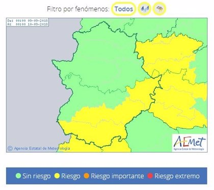 Buena parte de la provincia de Badajoz estará este domingo en alerta por lluvias y tormentas