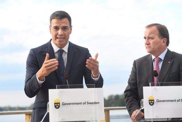 Pedro Sánchez y el primer ministro de Suecia Stefan Lofven ofrecen una rueda de