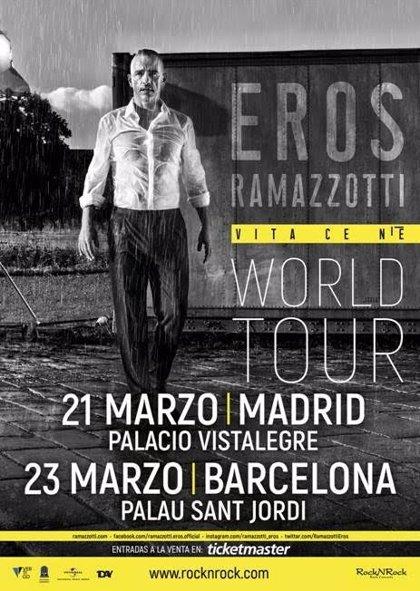 Eros Ramazzotti anuncia conciertos en Madrid y Barcelona en marzo de 2019