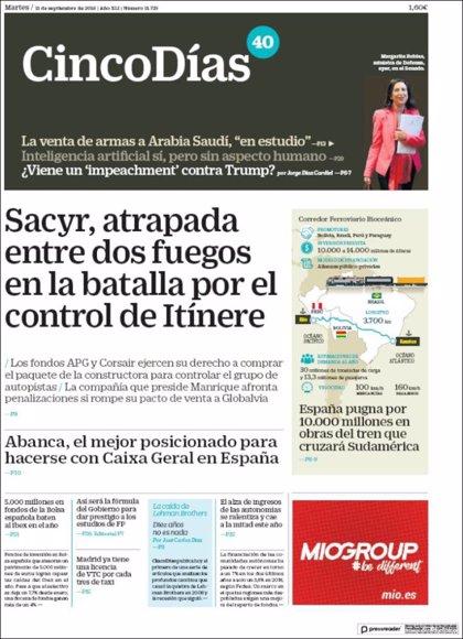 Las portadas de los periódicos económicos de hoy, martes 11 de septiembre