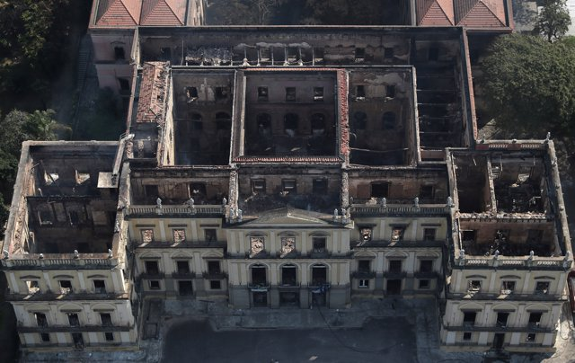 An aerial view of the National Museum of Brazil after a fire burnt it in Rio de