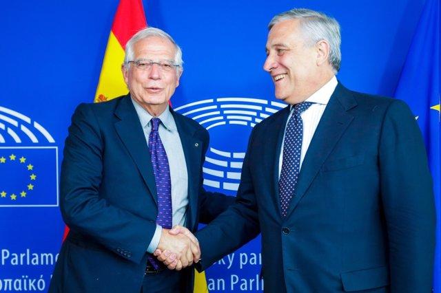 Borrell con el presidente del Parlamento Europeo, Antonio Tajani