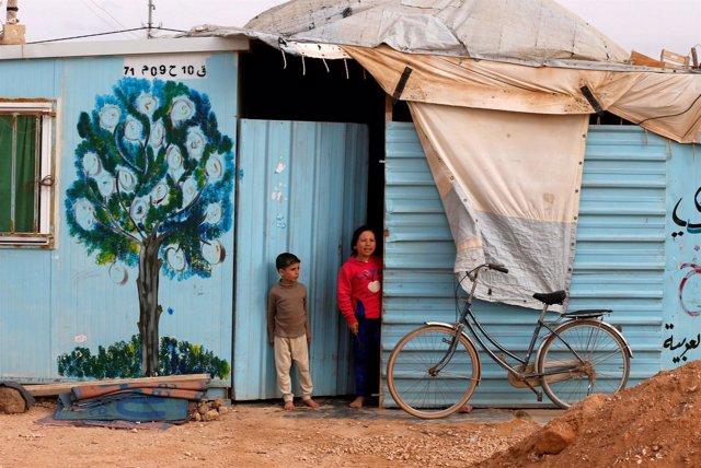 Niños sirios en el campo de refugiados de Zaatari, en Jordania