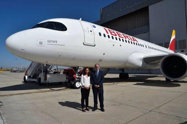 Presentación del nuevo A320neo de Iberia, llamado 'Getafe'