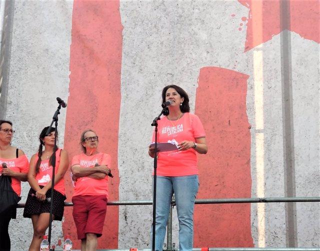 Elisenda Paluzie (ANC) en la manifestació de la Diada 2018