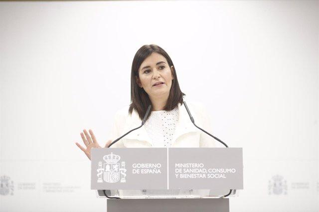 Rueda de prensa de la ministra de Sanidad para dar explicaciones sobre su máster