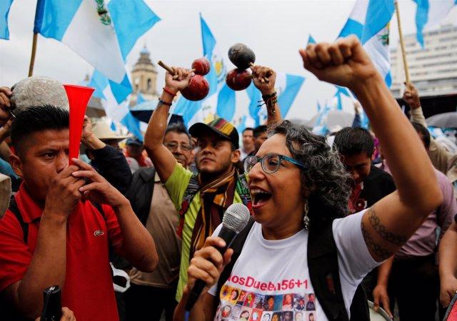 Manifestación contra Jimmy Morales en Guatemala