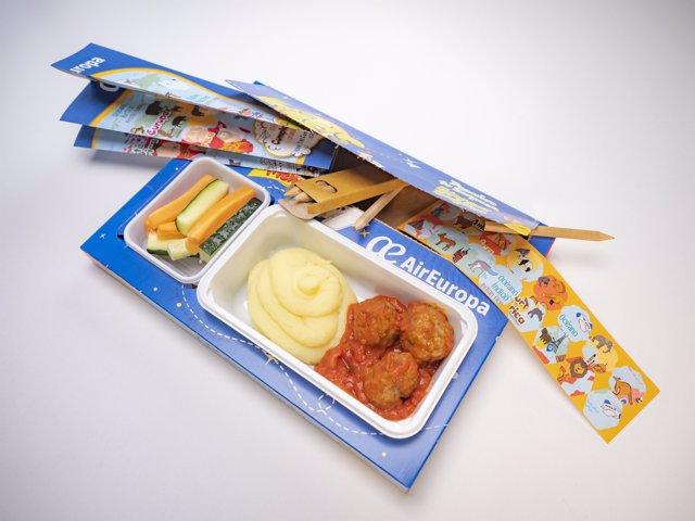 Menú para niños en Air Europa