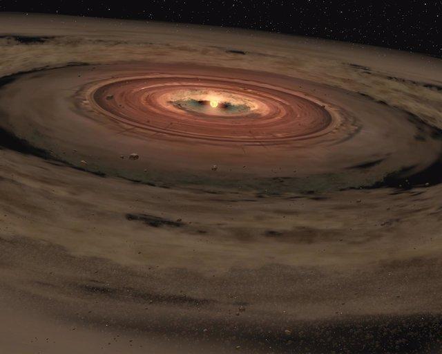Disco de polvo alrededor de una joven estrella