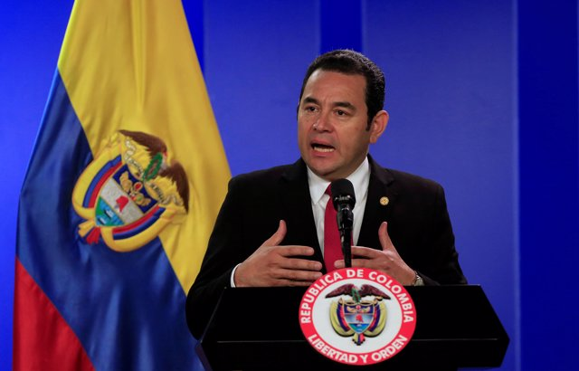 Guatemala's President Jimmy Morales speaks during a news conference in Bogota, C