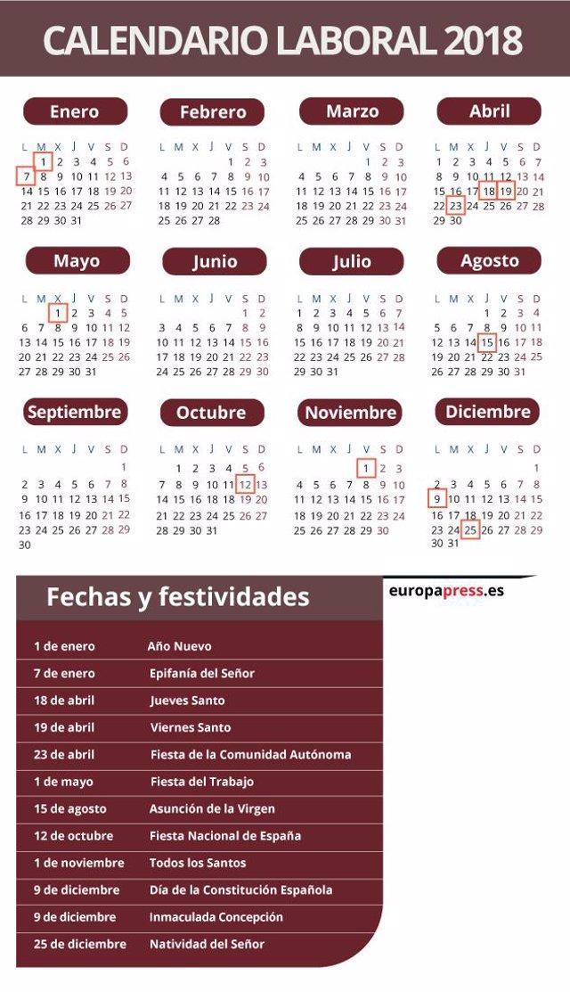 Calendario Laboral Castilla Y Leon 2020.Cyl Mantiene 12 Festivos En 2019 Y Traslada A Lunes 6 De Enero Y 8 De Diciembre