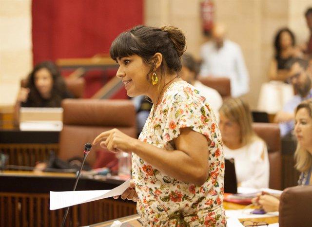 Teresa Rodríguez, líder de Podemos Andalucía, en el Pleno