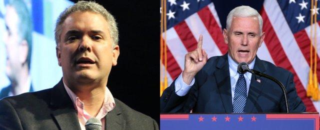 Iván Duque (izquierda) y Mike Pence (derecha)