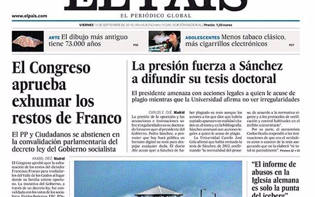 Las portadas de los periódicos del viernes 14 de septiembre de 2018