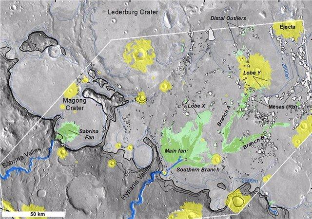 Sedimentos en Hypanis Valles