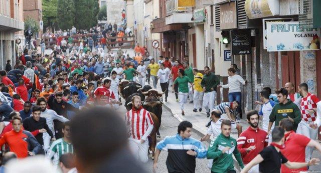 Imagen del segundo encierro de las fiestas de Guadalajara