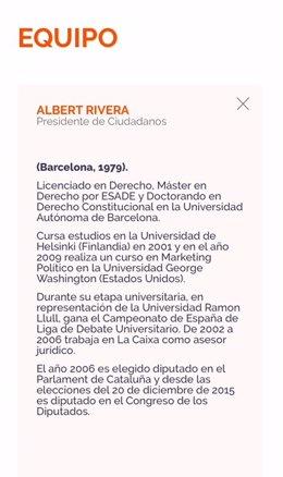 Captura de la web de Cs con el currículum de Albert Rivera