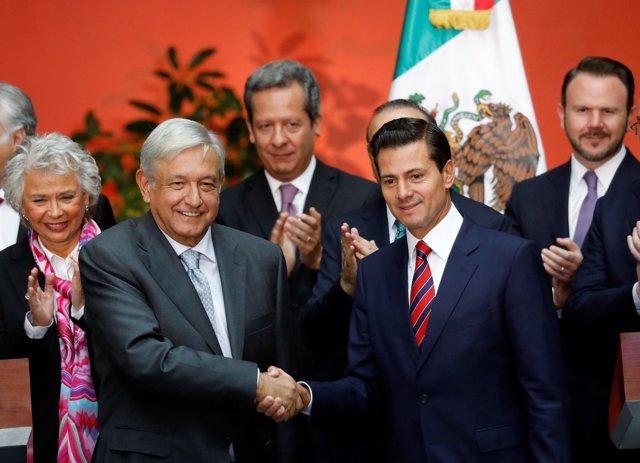 Presidente electo Andres Manuel Lopez Obrado y Peña Nieto