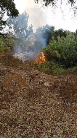Incendio cerca del CETI de Ceuta