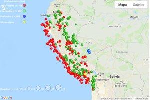 Mapa de los seísmos en Perú durante 2018.
