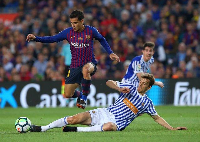 Coutinho en un Barcelona-Real Sociedad