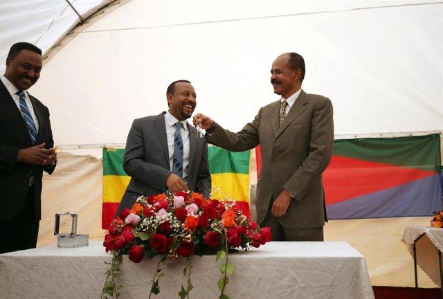 Isaias Afewerki y Abiy Ahmed en inauguración de la Embajada eritrea en Etiopía