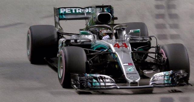 Lewis Hamilton, en el circuito de Marina Bay