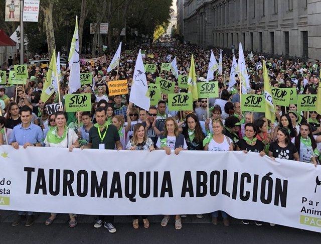 Manifestación contra la tauromaquia y las becerradas en Madrid