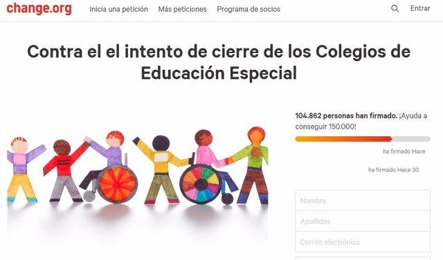 Petición 'Contra el el intento de cierre de los Colegios de Educación Especial'
