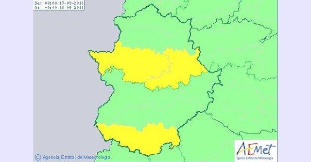 Riesgo por tormentas en Extremadura