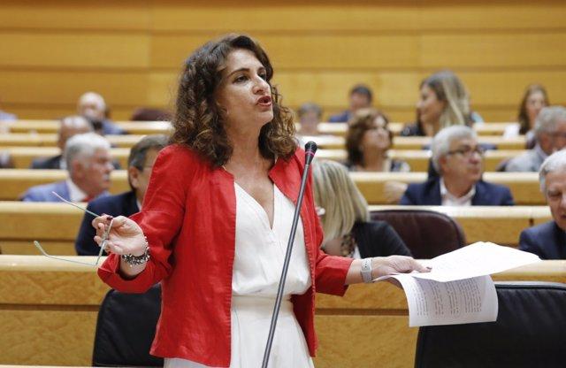 La ministra de Hacienda, María Jesús Montero, en el Senado