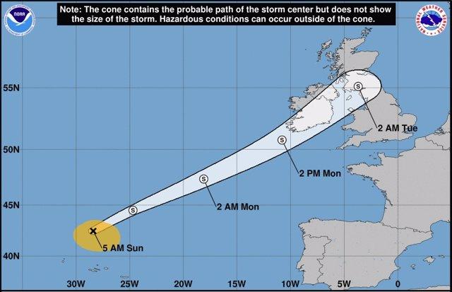 Traxectoria do ciclón tropical 'Helene'